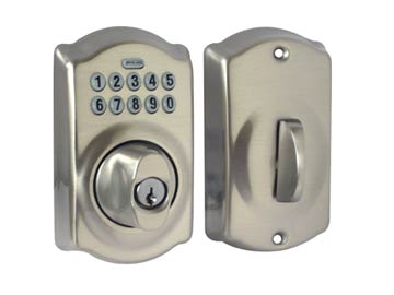 Schlage Nickel, Satin Electronic Lockset Product Number: BE365 CAM 619