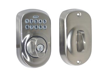 Schlage Nickel, Satin Electronic Lockset Product Number: BE365 PLY 619